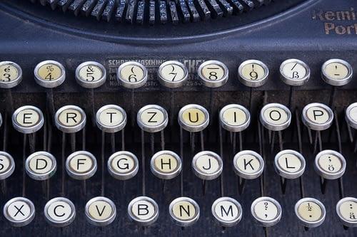 Tastatur einer Schreibmaschine.